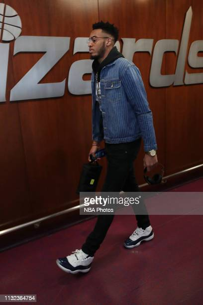 Troy Brown Jr #6 of the Washington Wizards arrives to the arena prior to the game against the Miami Heat on March 23 2019 at Capital One Arena in...