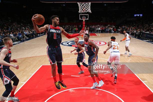 Troy Brown Jr #6 of the Washington Wizards grabs the rebound against the New York Knicks on March 10 2020 at Capital One Arena in Washington DC NOTE...