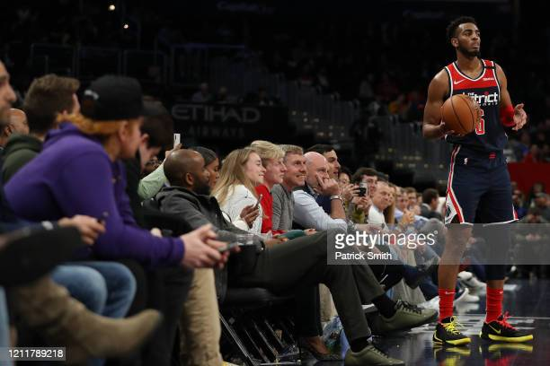 Troy Brown Jr #6 of the Washington Wizards looks to inbound a pass as fans look on against the New York Knicks during the second half at Capital One...