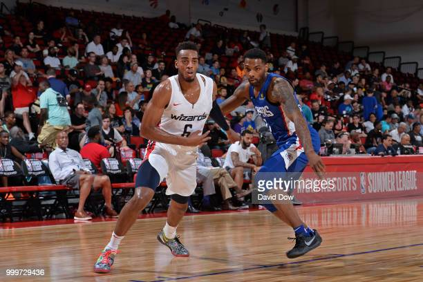Troy Brown Jr of the Washington Wizards and Angel Delgado of the LA Clippers during the 2018 Las Vegas Summer League on July 11 2018 at the Cox...