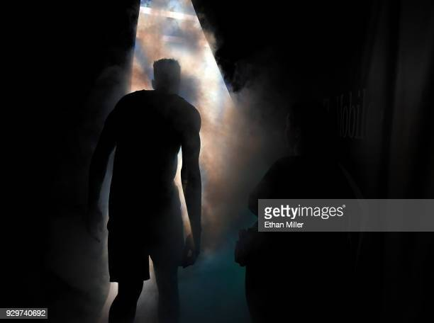 Troy Brown of the Oregon Ducks is introduced before a quarterfinal game of the Pac12 basketball tournament against the Utah Utes at TMobile Arena on...