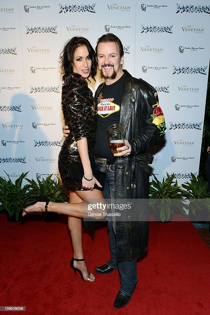 Troy Burgess (R) arrives at the Rock Of Ages opening after party at The Venetian on January 5, 2013 in Las Vegas, Nevada.