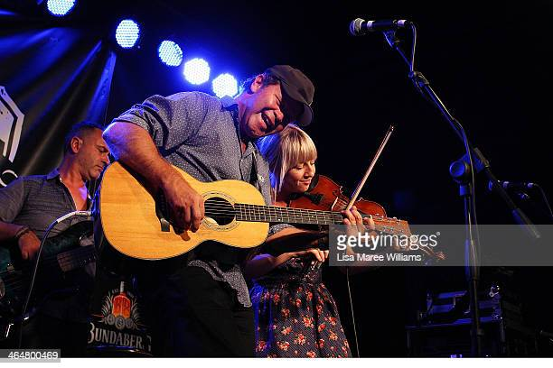 Troy CassarDaley and Ashleigh Dallas perform with Foggy Mountain Jam at the Longyard Hotel during the 42nd Tamworth Coutry Music Festival on January...