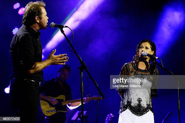 Troy CassarDaley and Kasey Chambers perform during the 43rd Golden Guitar Country Music Awards of Australia on January 24 2015 in Tamworth Australia