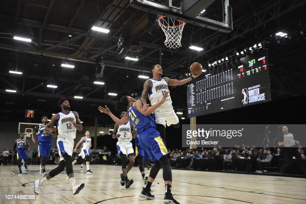 Troy Caupain of the Lakeland Magic goes up for layup against the Santa Cruz Warriors during the NBA G League Winter Showcase on December 20, 2018 at...