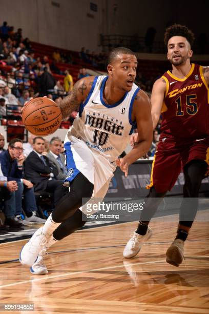 Troy Caupain of the Lakeland Magic handles the ball against London Perrantes of the Canton Charge on November 10 2017 at RP Funding Center in...