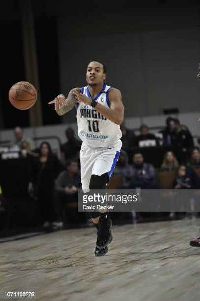 Troy Caupain of the Lakeland Magic passes the ball against the Santa Cruz Warriors during the NBA G League Winter Showcase on December 20, 2018 at...