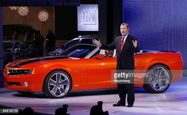 Troy Clarke president of North America for General Motors Corp introduces the new Chevrolet Camaro convertible concept vehicle at the North American...