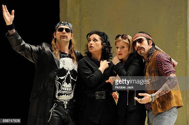 Troy Cook as Guglielmo Nino Surguladze as Dorabella Sally Matthews as Fiordiligi and Charles Castronovo as Ferrando in the Royal Opera's production...