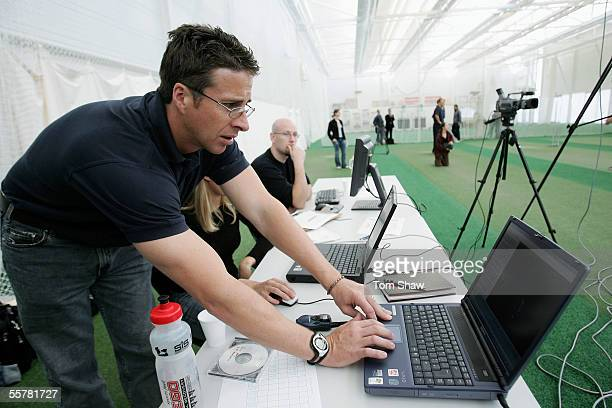 Troy Cooley the England bowling coach looks at the computer analysis during the Biometric Calibration Session at the ECB Academy at Loughborough...