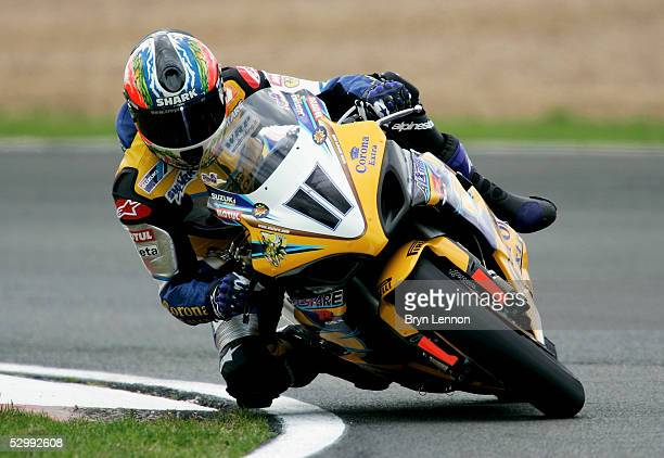 Troy Corser of Australia and Suzuki in action during qualifying practice for the World Superbike Championship at Silverstone circuit on May 28 2005...