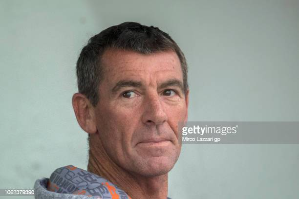 Troy Corser of Australia look on in pit during the MotoGP Of Valencia Free Practice at Ricardo Tormo Circuit on November 16 2018 in Valencia Spain