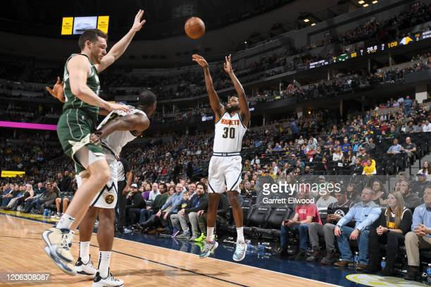 Troy Daniels of the Denver Nuggets shoots the against the Milwaukee Bucks on March 09 2020 at the Pepsi Center in Denver Colorado NOTE TO USER User...