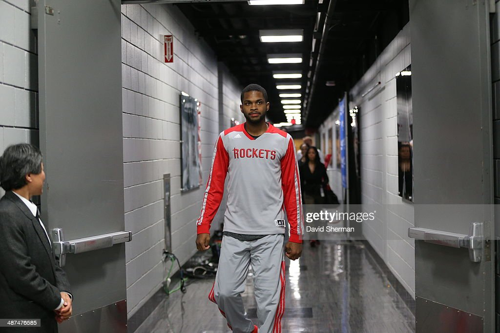 Troy Daniels #30 of the Houston Rockets walks out before the game against the Portland Trail Blazers in Game Four of the Western Conference Quarterfinals during the 2014 NBA Playoffs on April 27, 2014 at the Moda Center in Portland, Oregon.