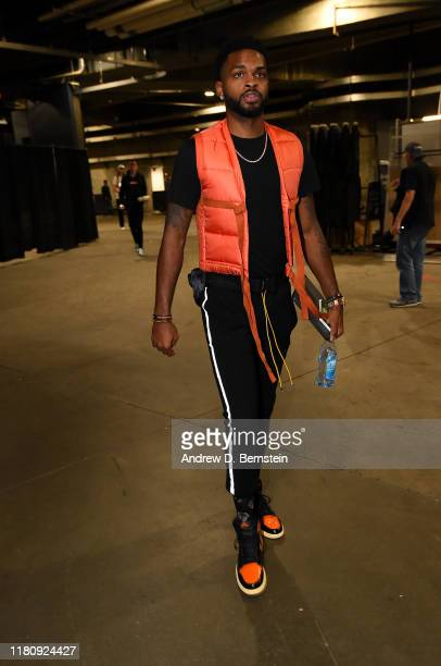 Troy Daniels of the Los Angeles Lakers arrives to the game against the Miami Heat on November 8 2019 at STAPLES Center in Los Angeles California NOTE...