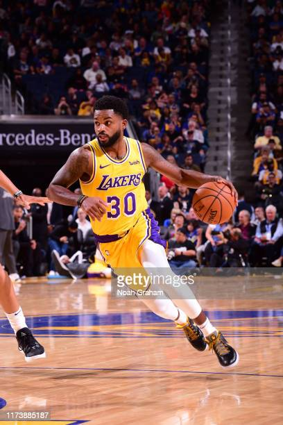 Troy Daniels of the Los Angeles Lakers handles the ball against the Golden State Warriors during a preseason game on October 5 2019 at Chase Center...