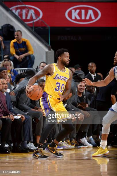Troy Daniels of the Los Angeles Lakers handles the ball against the Golden State Warriors during a preseason game on October 18 2019 at Chase Center...