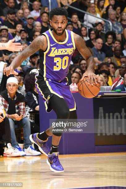 Troy Daniels of the Los Angeles Lakers handles the ball against the Utah Jazz on October 25 2019 at STAPLES Center in Los Angeles California NOTE TO...