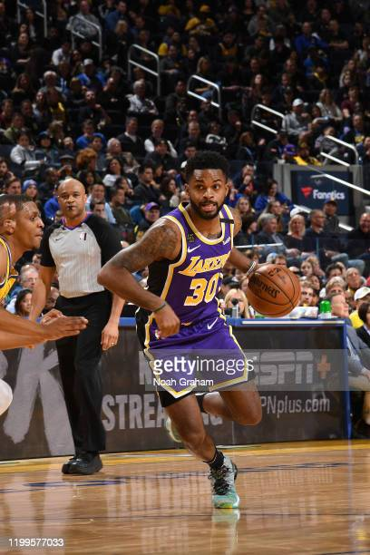 Troy Daniels of the Los Angeles Lakers handles the ball against the Golden State Warriors on February 8 2020 at Chase Center in San Francisco...