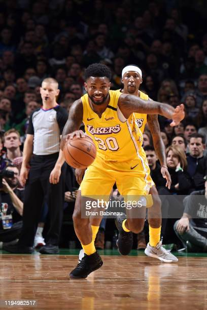 Troy Daniels of the Los Angeles Lakers handles the ball during the game against the Boston Celtics on January 20 2020 at the TD Garden in Boston...