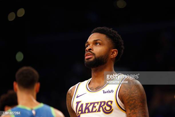 Troy Daniels of the Los Angeles Lakers looks on during a game against the Dallas Mavericks at Staples Center on December 01 2019 in Los Angeles...