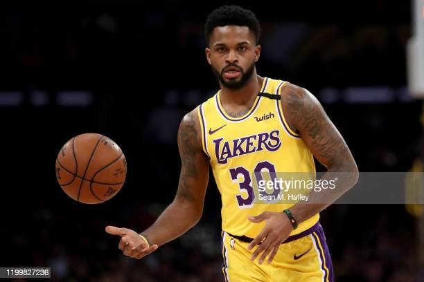 Troy Daniels of the Los Angeles Lakers looks on during the second half of a game against the New York Knicks at Staples Center on January 07 2020 in...