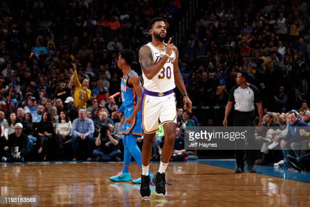 Troy Daniels of the Los Angeles Lakers reacts to play against the Oklahoma City Thunder on January 11 2020 at Chesapeake Energy Arena in Oklahoma...