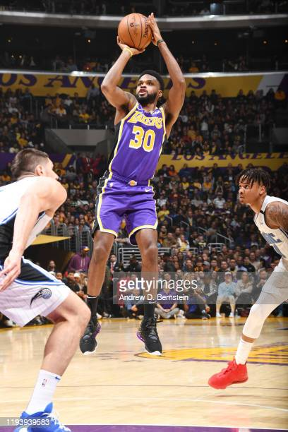Troy Daniels of the Los Angeles Lakers shoots the ball against the Orlando Magic on January 15 2020 at STAPLES Center in Los Angeles California NOTE...