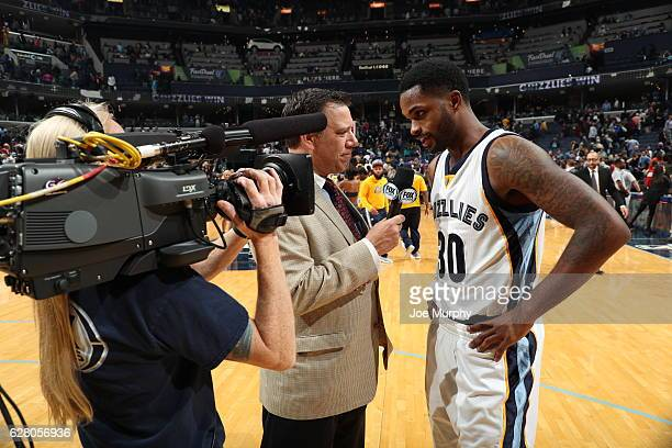 Troy Daniels of the Memphis Grizzlies talks to the media after the game against the Los Angeles Lakers on December 3 2016 at FedExForum in Memphis...