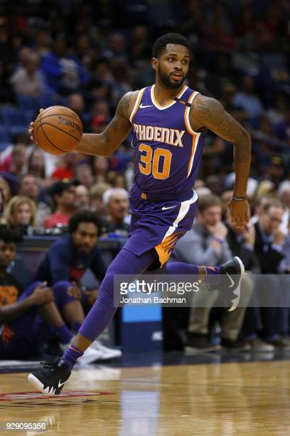 Troy Daniels of the Phoenix Suns drives with the ball during the first half against the New Orleans Pelicans at the Smoothie King Center on February...