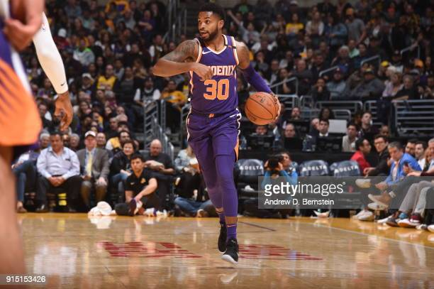 Troy Daniels of the Phoenix Suns handles the ball against the Los Angeles Lakers on February 6 2018 at STAPLES Center in Los Angeles California NOTE...