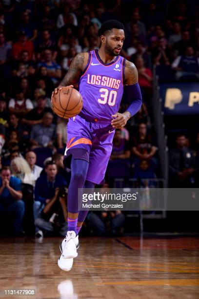 Troy Daniels of the Phoenix Suns handles the ball during the game against the Chicago Bulls on March 18 2019 at Talking Stick Resort Arena in Phoenix...