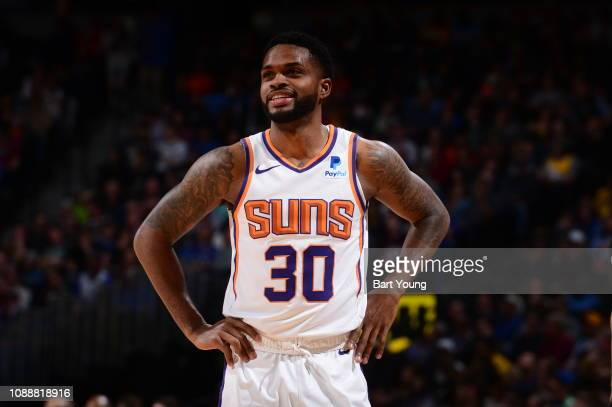 Troy Daniels of the Phoenix Suns looks on during the game against the Denver Nuggets on January 25 2019 at the Pepsi Center in Denver Colorado NOTE...