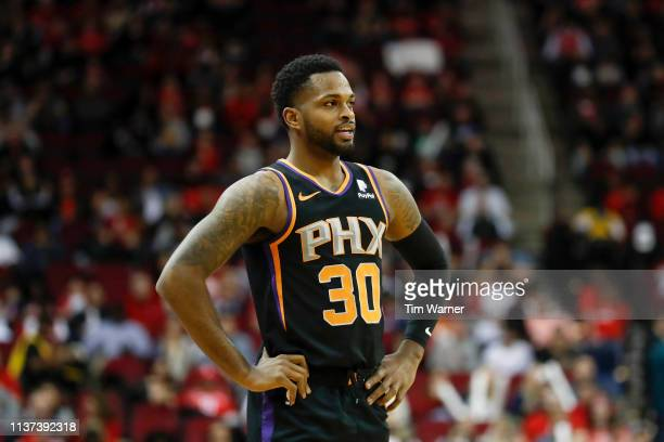 Troy Daniels of the Phoenix Suns reacts in the first half against the Houston Rockets at Toyota Center on March 15 2019 in Houston Texas NOTE TO USER...