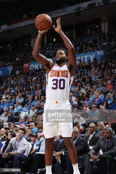 Troy Daniels of the Phoenix Suns shoots the ball against the Oklahoma City Thunder on October 28 2018 at Chesapeake Energy Arena in Oklahoma City...
