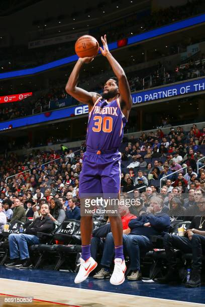 Troy Daniels of the Phoenix Suns shoots the ball against the Washington Wizards on November 1 2017 at Capital One Arena in Washington DC NOTE TO USER...