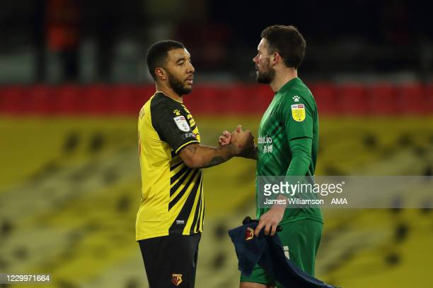 Troy Deeney and Ben Foster of Watford at full time of the Sky Bet Championship match between Watford and Cardiff City at Vicarage Road on December 5,...