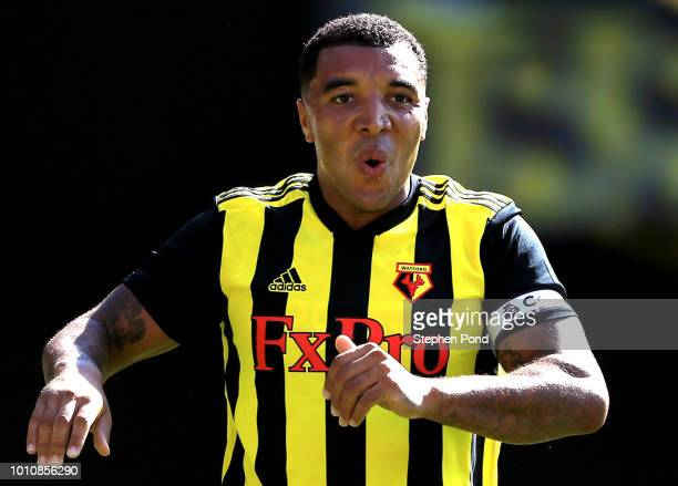 Troy Deeney of Watford after scoring the equalising goal during the preseason friendly match between Watford and Sampdoria at Vicarage Road on August...