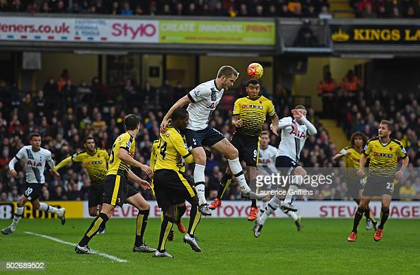 Troy Deeney of Watford and Eric Dier of Tottenham Hotspur compete for the ball during the Barclays Premier League match between Watford and Tottenham...