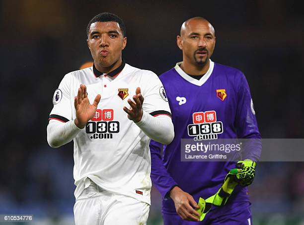Troy Deeney of Watford and Heurelho Gomes of Watford applaud supporters following defeat in the Premier League match between Burnley and Watford at...