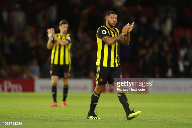 Troy Deeney of Watford applauds fans after during the Premier League match between Watford FC and Manchester United at Vicarage Road on September 15...