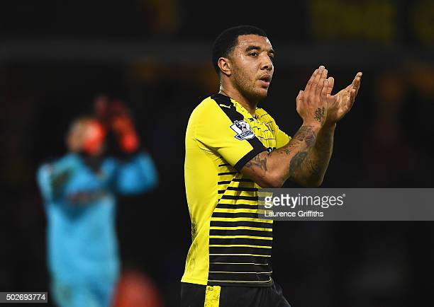 Troy Deeney of Watford applauds supporters after his team's 12 defeat in the Barclays Premier League match between Watford and Tottenham Hotspur at...