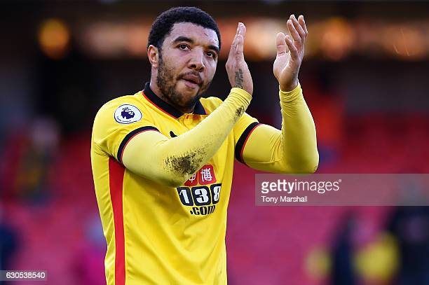 Troy Deeney of Watford applauds the fans after the Premier League match between Watford and Crystal Palace at Vicarage Road on December 26 2016 in...
