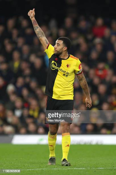 Troy Deeney of Watford celebrates after scoring his sides first goal during the Premier League match between Watford FC and Aston Villa at Vicarage...