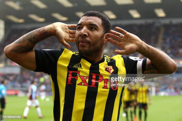 Troy Deeney of Watford celebrates after scoring his sides second goal during the Premier League match between Burnley FC and Watford FC at Turf Moor...
