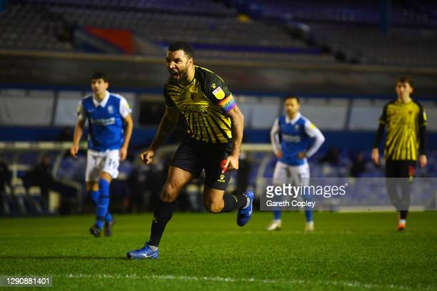 Troy Deeney of Watford celebrates after scoring his team's first goal during the Sky Bet Championship match between Birmingham City and Watford at St...