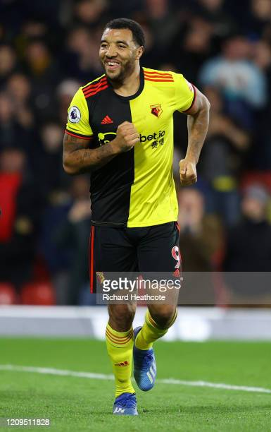 Troy Deeney of Watford celebrates at full time of the Premier League match between Watford FC and Liverpool FC at Vicarage Road on February 29 2020...