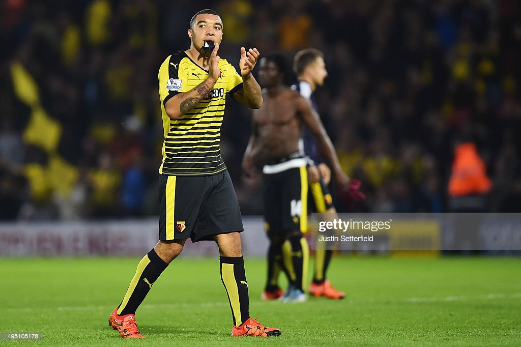 Troy Deeney of Watford celebrates his team's 2-0 win in the Barclays Premier League match between Watford and West Ham United at Vicarage Road on October 31, 2015 in Watford, England.
