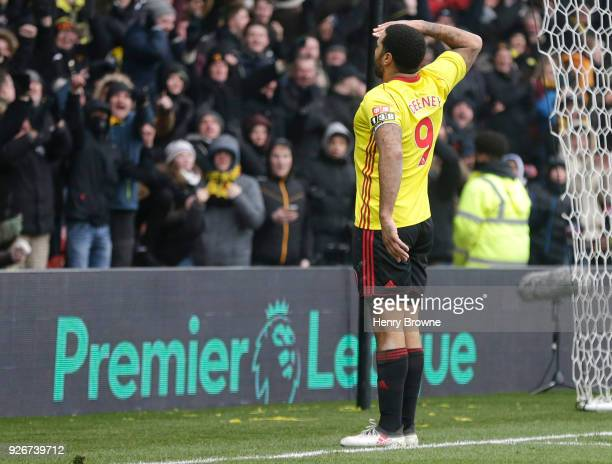 Troy Deeney of Watford celebrates scoring his side's first goal during the Premier League match between Watford and West Bromwich Albion at Vicarage...