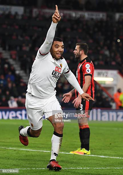 Troy Deeney of Watford celebrates scoring his sides second goal during the Premier League match between AFC Bournemouth and Watford at Vitality...